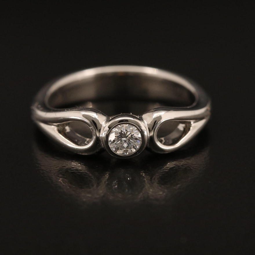 Elsa Peretti for Tiffany & Co Platinum 0.18 CT Diamond Solitaire Ring