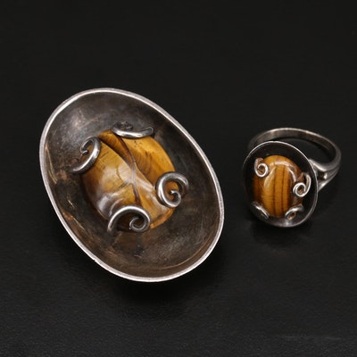 Rosi Beguden Mexican Modernist Sterling Tiger's Eye Ring and Brooch
