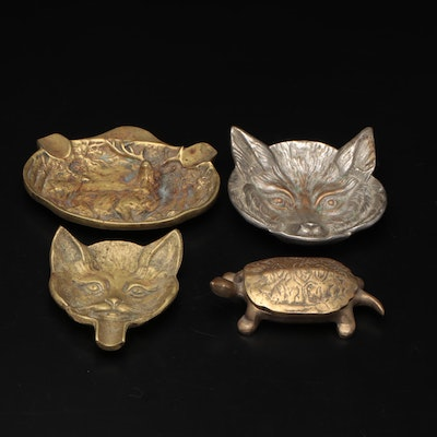 Brass and Silver Plate Repousse Animal Ashtrays