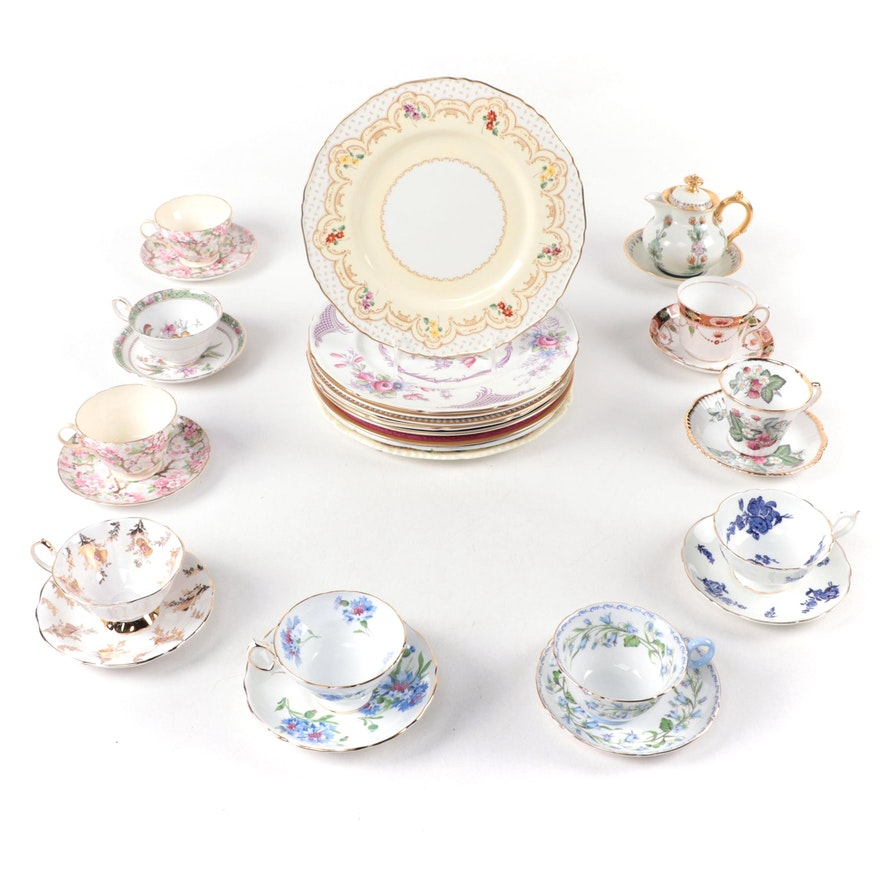 """Royal Doulton """"Old Chelsea"""" with Other Bone China Plates and Teacups"""