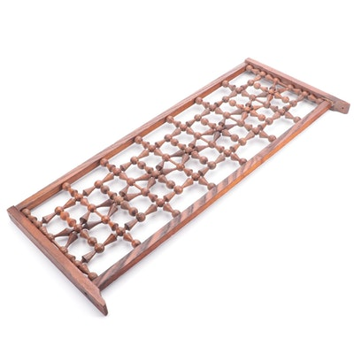 Victorian Ball and Star Carved Wood Fretwork Panel