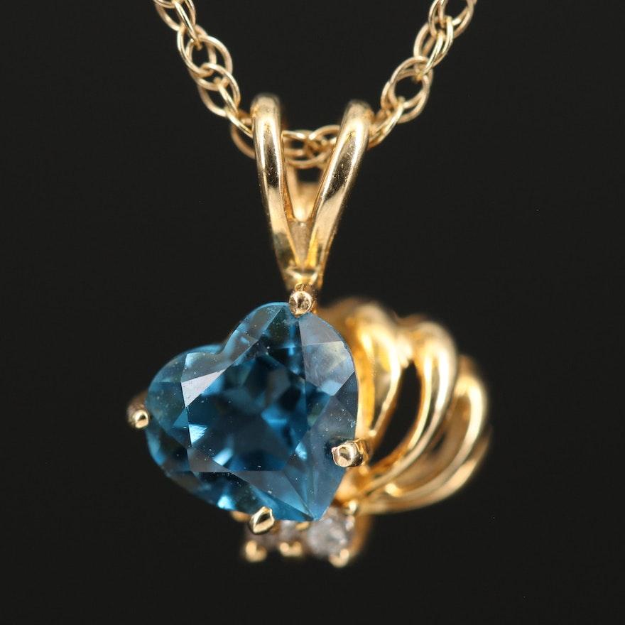 14K London Blue Topaz and Diamond Heart Pendant Necklace