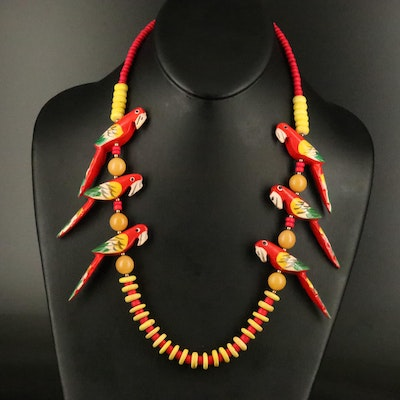 Wooden Parrot Beaded Necklace