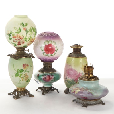 Hand-Painted Milk Glass Oil and Converted Electric Lamps