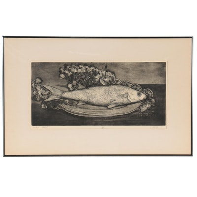 """W.H. Rawls Etching With Aquatint """"Smoked Mullet,"""" Mid-Late 20th Century"""