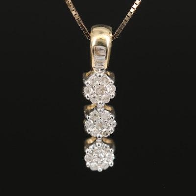 14K Diamond Drop Pendant