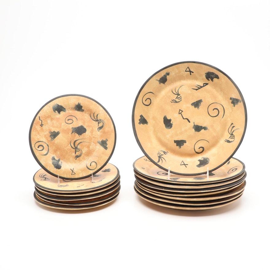 JSC Santa Fe, New Mexico Hand-Painted Ceramic Plates, Late 20th Century