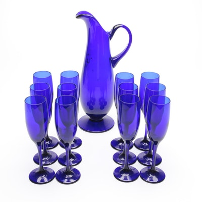Libbey Cobalt Glass Ewer and Flutes, Late 20th Century