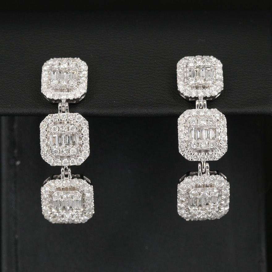 14K 3.30 CTW Diamond Geometric Cluster Drop Earrings