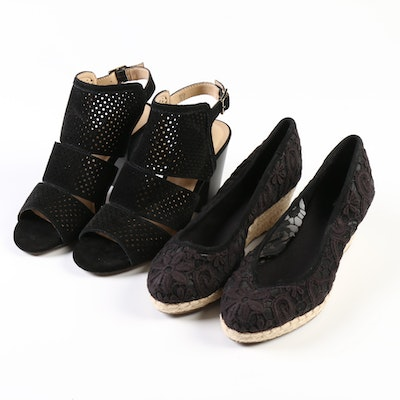 Lands' End Heel Perforated Sandals and Lace Espadrille Wedges