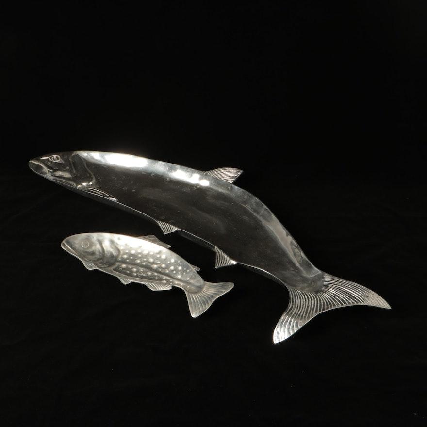 Centrum Cast Aluminum Fish Shaped Serving Dishes, Late 20th Century
