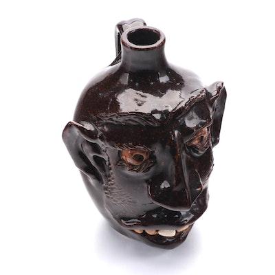 G. F. Cole for Cole Pottery Folk Art Ceramic Face Jug, 1989