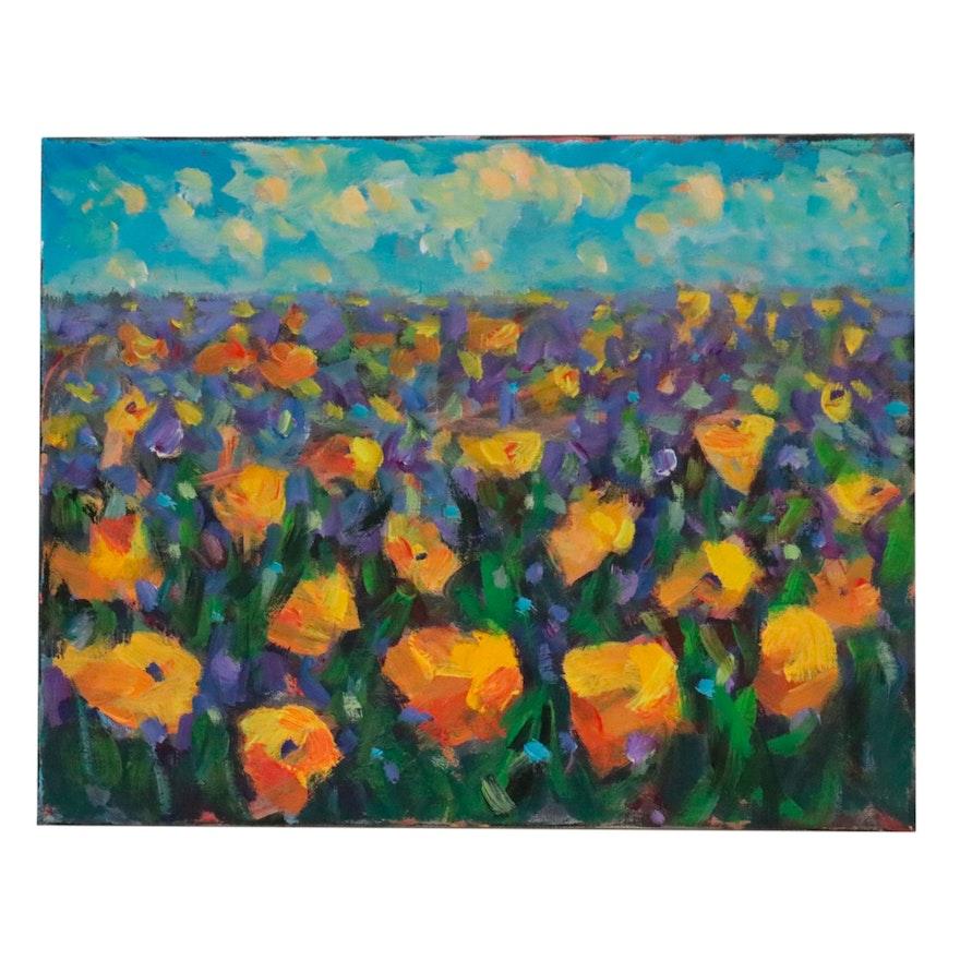 Leira Veylin Acrylic Painting of Flower Field, 21st Century