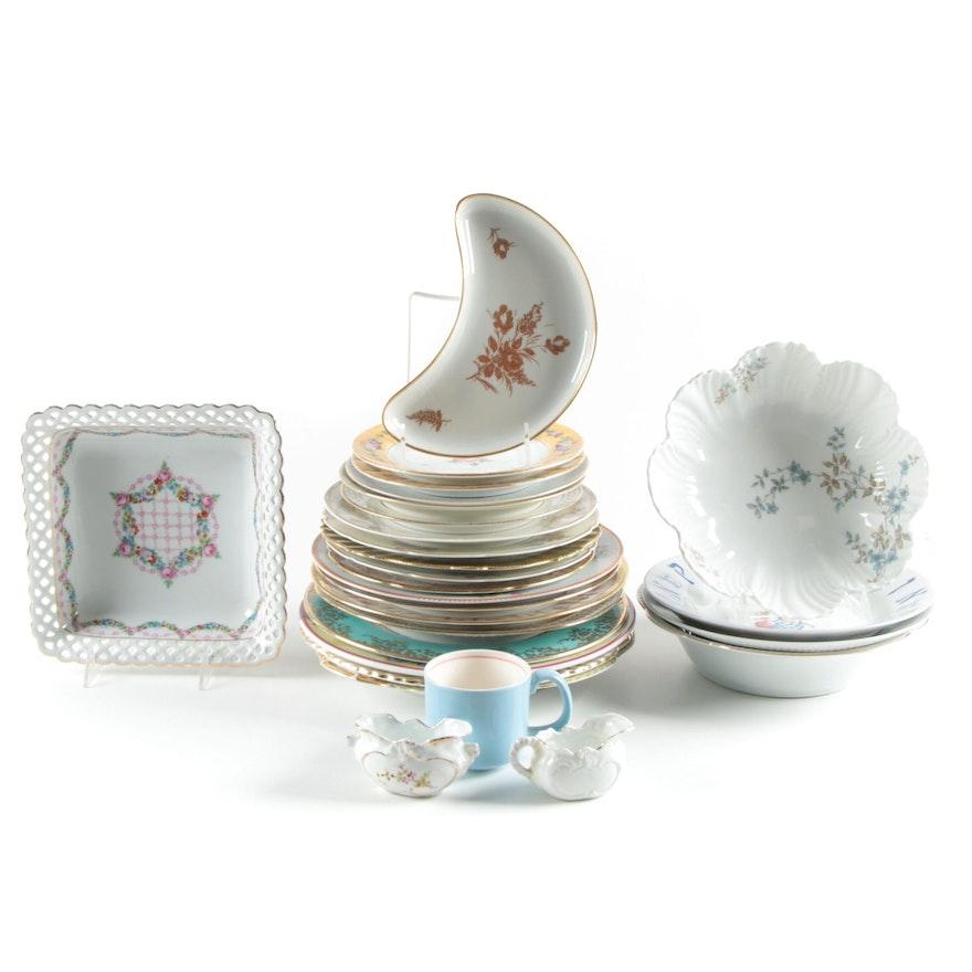 Schumann Porcelain Bonbon Dish and Other Porcelain Plates and Tableware