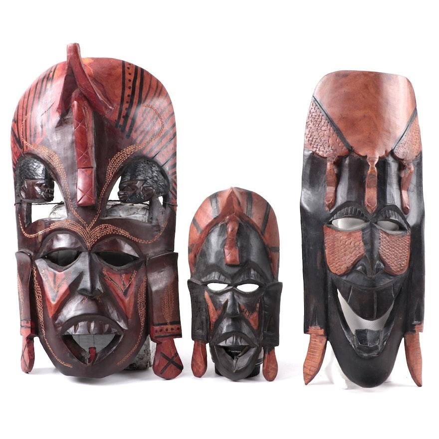 Kenyan Hand-Carved Wood Decorative Masks
