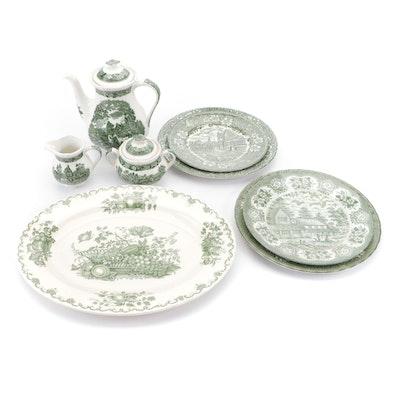 Royal Tudor Ware, Adams, and More Green Transfer Dinnerware and Tea Set