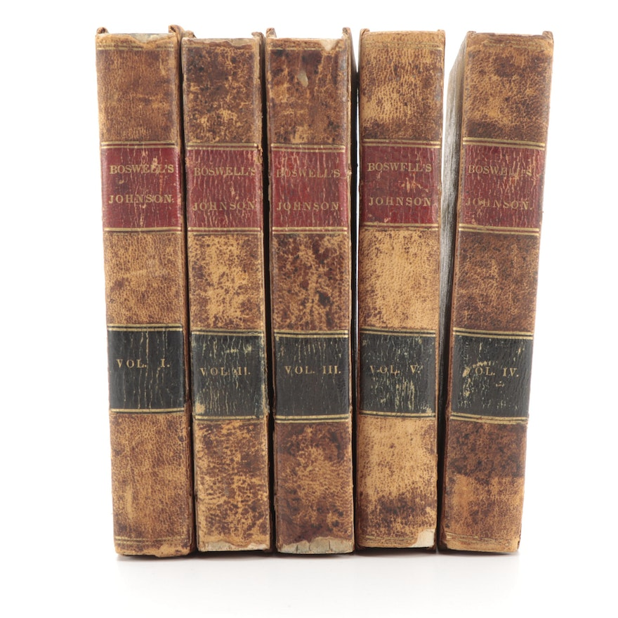 """""""The Life of Samuel Johnson"""" Complete Five-Volume Set by James Boswell, 1824"""