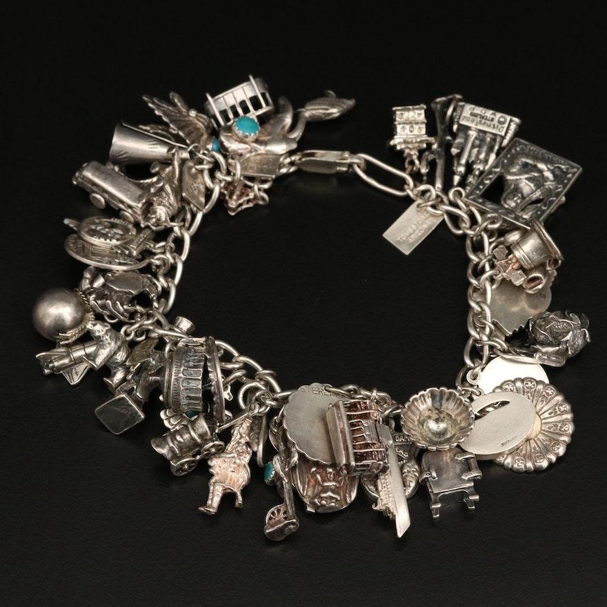 Vintage Sterling Charm Bracelet with Disneyland Castle and Bell Trading Co.