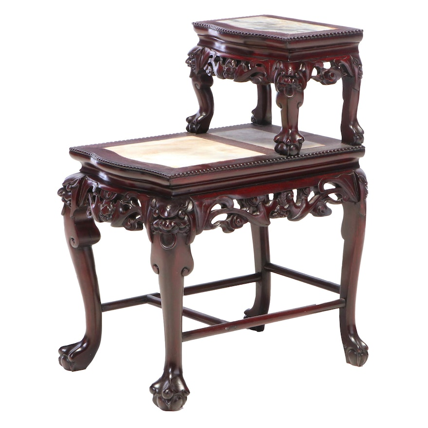 Chinese Carved Hardwood and Marble Top Stepback Side Table