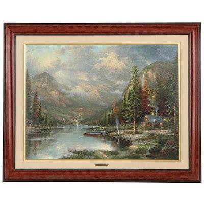 "Thomas Kinkade Hand-Embellished Offset Lithograph ""Mountain Majesty"""