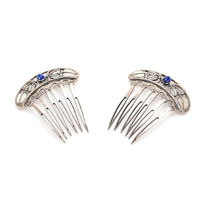 Sterling Silver Openwork Hair Combs with Polished Cabochons