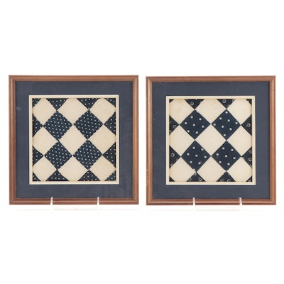 Handmade Checkerboard Patchwork Display Quilt Blocks, Early to Mid-20th Century