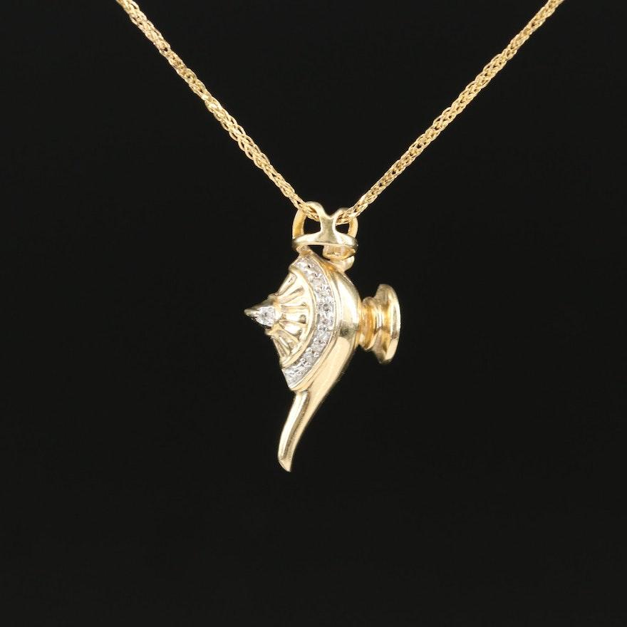 10K Diamond Genie Lamp Pendant Necklace