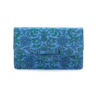 Thai Silk Co. Ltd. Silk Clutch with Bow in Blue and Green Floral Print
