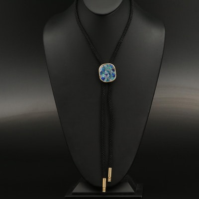 Bolo Tie with Opal Mosaic Inlay Slide