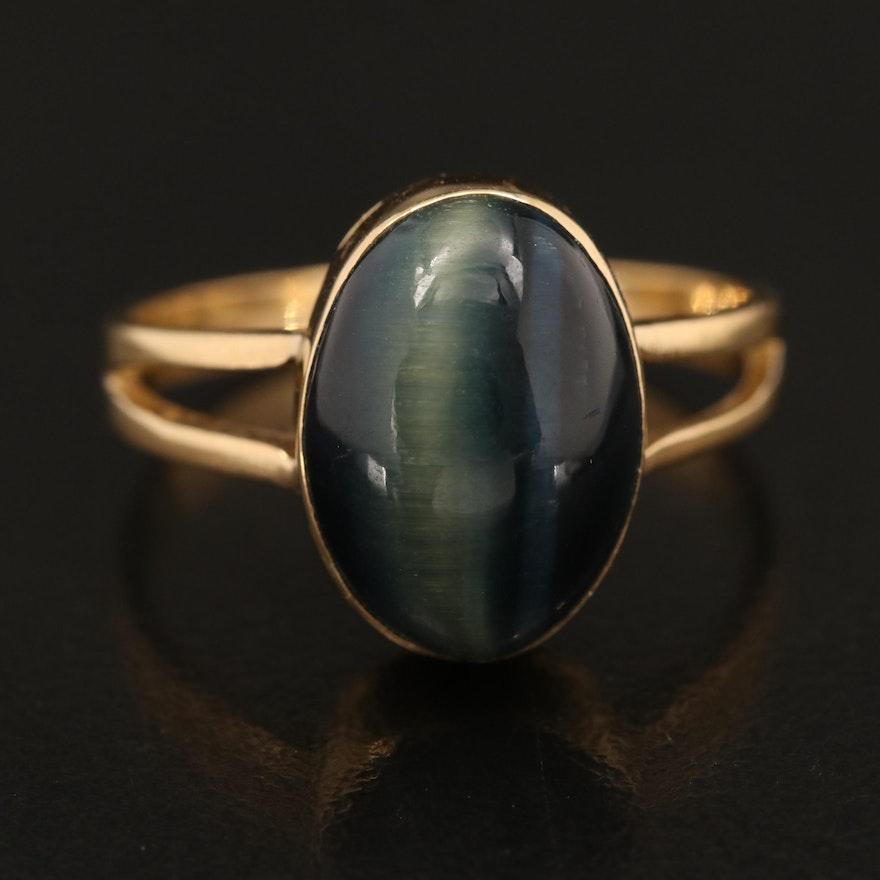 18K Hawk's Eye Cabochon Ring