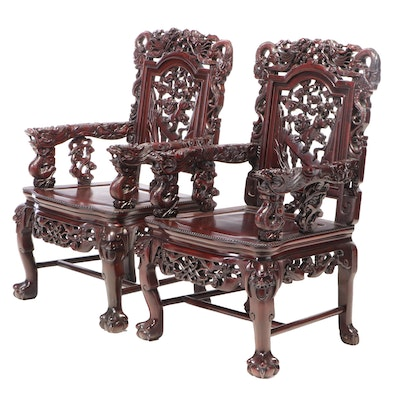"""Pair of Chinese Carved Hardwood """"Dragon"""" Armchairs"""
