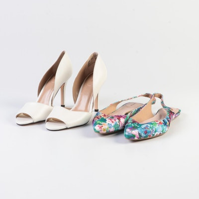 Lands' End Lucy Printed Slingbacks and Peep Toe D'Orsay Pumps