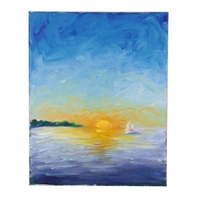 """Mia Wyle Acrylic Painting """"Sailing at Sunrise,"""" 21st Century"""