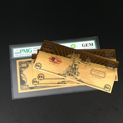 PMG Graded GEM $100 Smithsonian Edition Golden Certificate and More