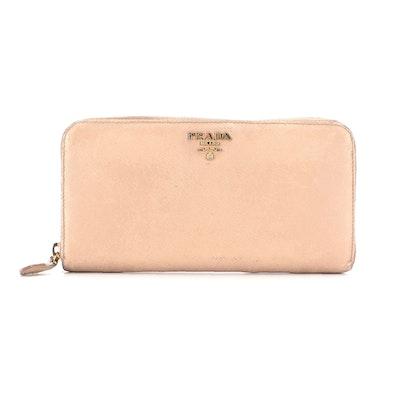 Prada Zip Wallet in Beige Saffiano Leather