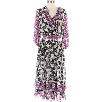 Diane Freis Georgette Abstract Patterned Dress