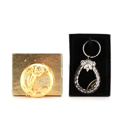 Whiting & Davis Key Ring and Estée Lauder Compact with Rhinestones and Boxes