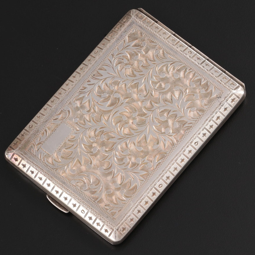Chased Scrolling Foliate Sterling Silver Cigarette Case, Early-Mid 20th Century