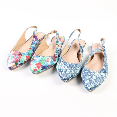 Lands' End Lucy Pointed Toe Slingbacks in Floral and Abstract Patterns
