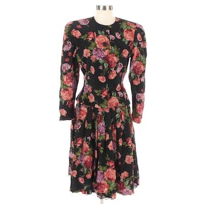 Albert Nipon Floral Silk Skirt Suit