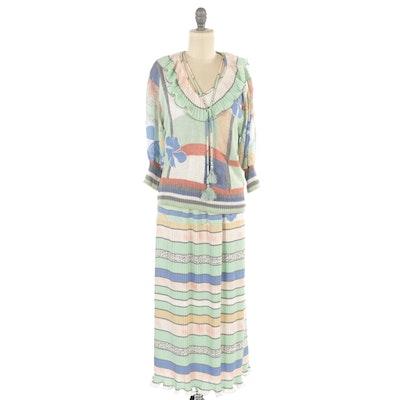 Diane Freis for Marisa Christina Mixed Pattern Blouse and Skirt Set