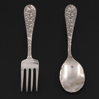 """Kirk-Stieff """"Stieff Rose"""" Sterling Silver Baby Spoon and Fork"""