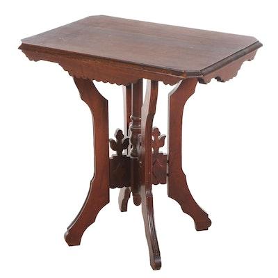 Iowa-Made Victorian, Eastlake Style Walnut Side Table, Late 19th Century