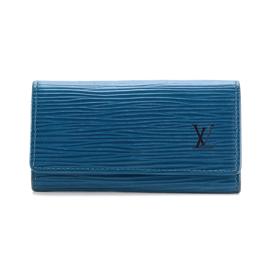 Louis Vuitton Four-Key Holder in Toledo Blue Epi Leather