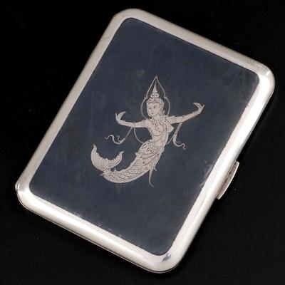 Thai Niello Sterling Silver Cigarette Case, Early 20th Century