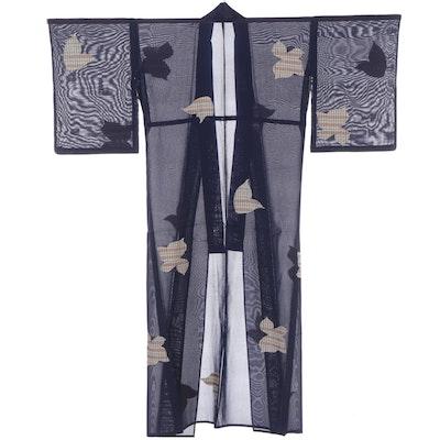 Semi Sheer Natsu Kimono with Abstract Foliate Motif, Shōwa Period