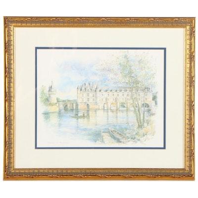 "Offset Lithograph ""Chateau de Chenonceau,"" Late 20th Century"