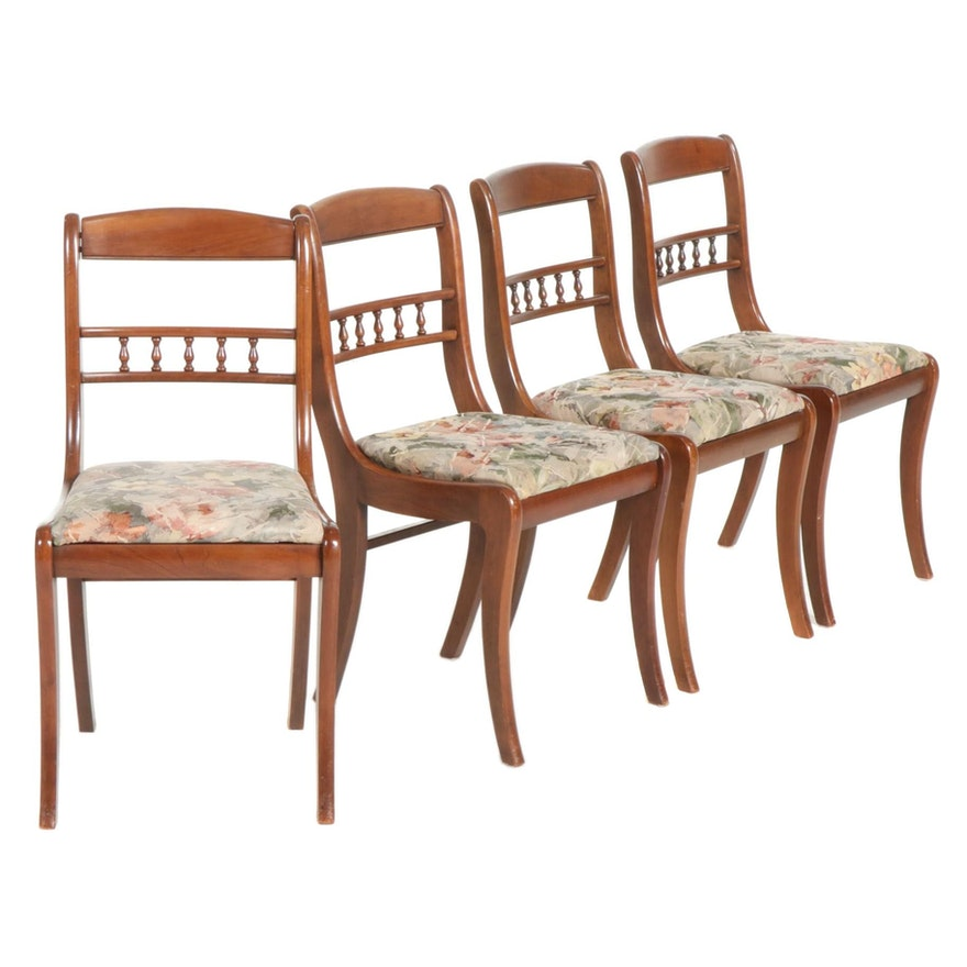 Four Tell City Walnut Saber Leg Side Chairs, Mid to Late 20th Century