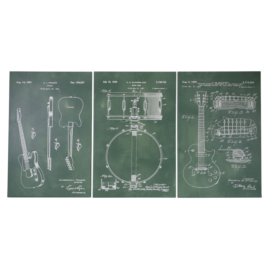 Giclées of Musical Instruments Patents