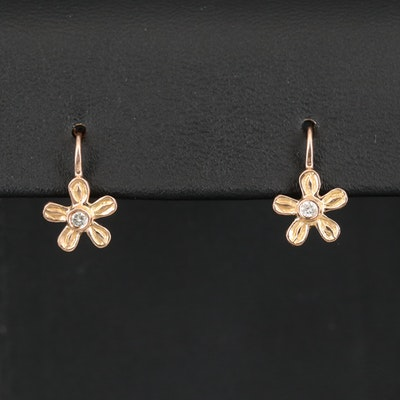14K Diamond Flower Drop Earrings